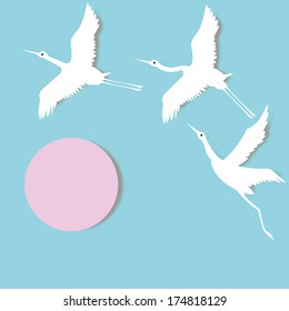 paper crane fly on sky