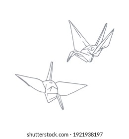 Paper cranes. Origami. Vector illustration in hand-drawn style. Japanese symbol of peace. Good for logo or decoration.