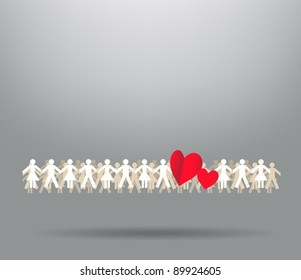 Paper crowd men and women with hearts