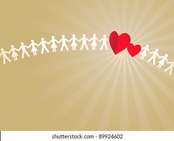 Paper crowd with two hearts