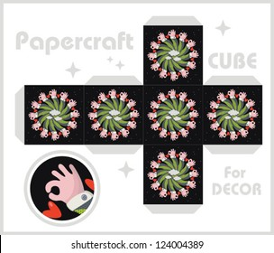 Paper cube for children games and decoration. Papercraft in vector.