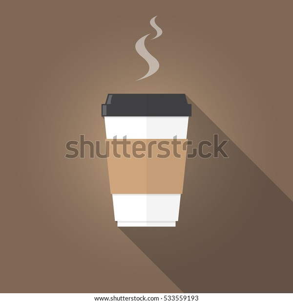 paper cup of coffee flat design on brown background