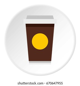 Paper cup of coffee icon in flat circle isolated vector illustration for web