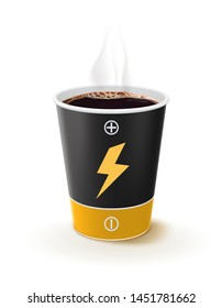 Paper cup of coffee like a battery. Metaphor coffee is power for people. Creative vector 3d illustration