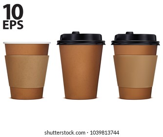 Paper cup of coffee, set. Vector 3d illustration. Isolated on white.