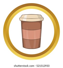 Paper cup of coffee vector icon in golden circle, cartoon style isolated on white background