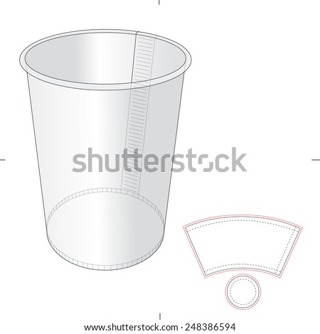 Paper Cup With Die Cut Template