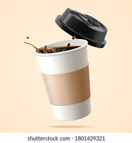 Paper cup filled with black coffee in 3D over beige background