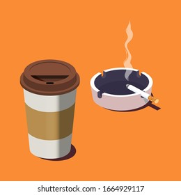 Paper cup of fresh coffee, ceramic ashtray and smoking cigarette. 3d isometric vector illustration. Colorful vector illustration in flat cartoon style.