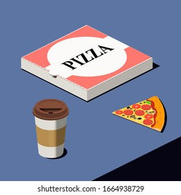 Paper cup of fresh coffee, Pepperoni cheese pizza and carton package box in 3d vector isometric illustration. Traditional italian fast food.