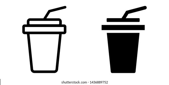 Paper cup icon in flat style, for soda, juice or cold beverage, Drink icon, Fast food. Vector illustration