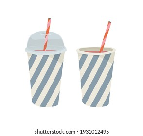 Paper cup with plastic lid and tube. Outline vector illustration on a white background. Juice, cocktail, milkshake, smoothie.