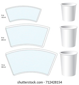 Paper cup vector blank templates. 3 sizes.