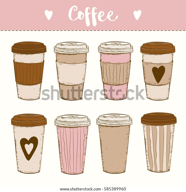Paper Cups Coffee Go Cappuccino Take Stock Vector Royalty