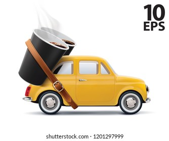Paper cups of coffee on car isolated on white. Realistic vector 3d illustration