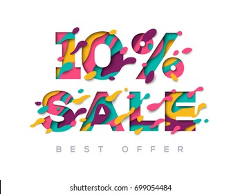 Paper cut 10 percent off. 10% discount 3d sign isolated on white background. Vector illustration. Sale symbol concept, special offer label, sticker tag, banner, advertising badge