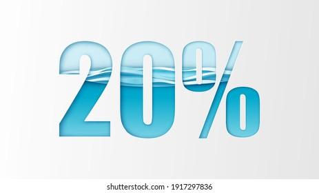 Paper cut 20% off sale promotion in summer. Discount Promotion of Summer. 20 Percent. 20% calligraphy. paper cut and craft style. vector, illustration.