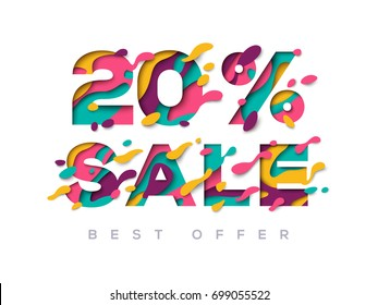 Paper cut 20 percent off. 20% discount 3d sign isolated on white background. Vector illustration. Sale symbol concept, special offer label, sticker tag, banner, advertising badge