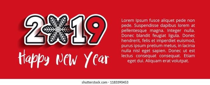 Paper cut 2019 text design with snowflake. Happy New Year lettering. Vector greeting illustration with white numbers on red background