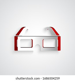 Paper cut 3D cinema glasses icon isolated on grey background. Paper art style. Vector Illustration
