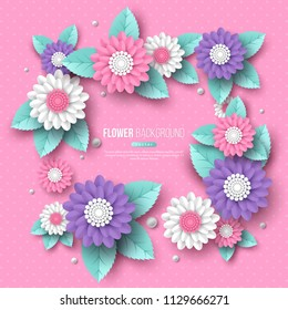 Paper cut 3d flower frame in pink, white and violet colors. Place for text, dotted pattern. Decorative elements for holiday design. Vector illustration.