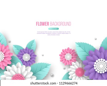 Paper cut 3d flowers banner in pink, white and violet colors. Place for text. Decorative elements for holiday design. Vector illustration.