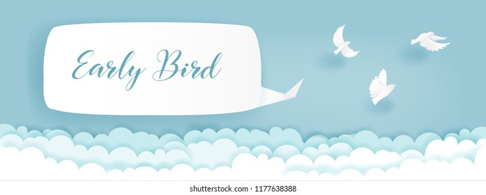 Paper cut of advertising template, early bird concept with birds flying above the clouds. Vector illustration.