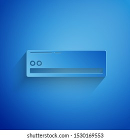 Paper cut Air conditioner icon isolated on blue background. Split system air conditioning. Cool and cold climate control system. Paper art style. Vector Illustration