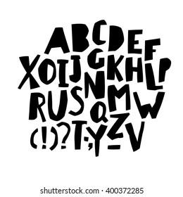 Paper Cut Alphabet. Black  letters. Capital letters.