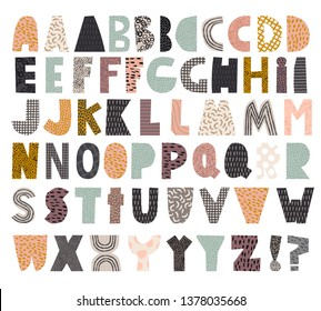 Paper cut alphabet set for collage and quote
