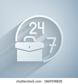 Paper cut Always busy icon isolated on grey background. Paper art style. Vector