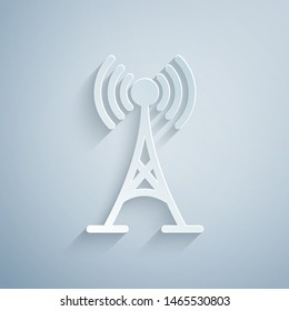 Paper cut Antenna icon isolated on grey background. Radio antenna wireless. Technology and network signal radio antenna. Paper art style. Vector Illustration