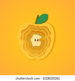 Paper cut apple. Vector illustration. Paper art style apple. Origami concept. Vector paper cut design in the form of yellow apple for design of food packaging breakfast, detox, cosmetics, jam, juice