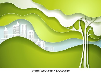 Paper cut art design style. Green tree. Eco nature concept city. Vector illustration