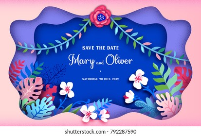 Paper cut art. Trendy Summer Template. Wedding invitation. Also great for greeting cards, St. Valentine's Day and more. Tropical palm leaves, plants, flowers. Exotic. Hawaiian. Space for text.