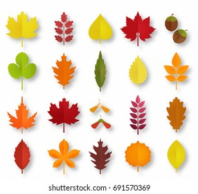 Paper cut autumn leaves set. Fall leaves colorful paper collection. Vector illustration