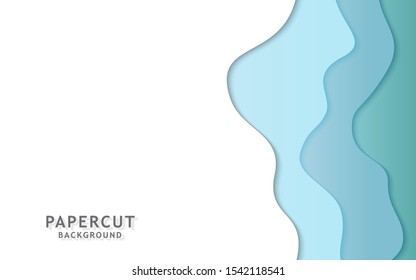 Paper cut background. Abstract realistic paper decoration for design textured with cardboard wavy cyan layers. 3d Relief. Carving art. Vector illustration. Cover layout design template.