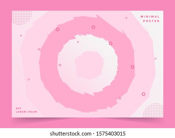 Paper cut background. Abstract realistic paper decoration for design textured with cardboard circle pink layers. 3d Relief. Carving art. Vector illustration. Cover layout design template