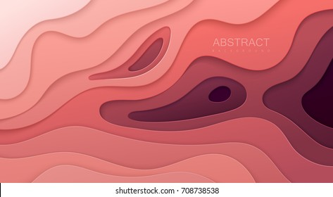 Paper cut background. Abstract realistic paper decoration for design textured with cardboard wavy pink layers. 3d Relief. Carving art. Vector illustration. Cover layout design template.