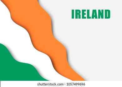 paper cut background with Flag of Ireland