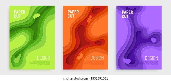 Paper cut banner set with 3D slime abstract background and green, orange, purple waves layers. Abstract layout design for brochure and flyer. Paper art vector illustration