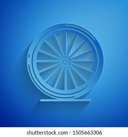 Paper cut Bicycle wheel icon isolated on blue background. Bike race. Extreme sport. Sport equipment. Paper art style. Vector Illustration