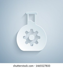 Paper cut Bioengineering icon isolated on grey background. Element of genetics and bioengineering icon. Biology, molecule, chemical icon. Paper art style. Vector Illustration