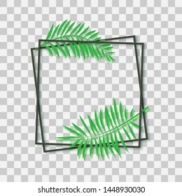 Paper cut black frame with tropical leaves. Two dark square frames lie one on another. Vector card illustration with place for selling advertising text. Photoframe on transparent background
