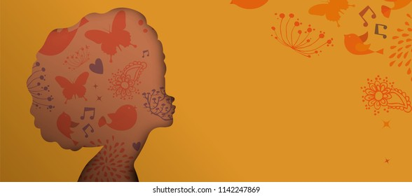 Paper cut black woman web banner, afro curly hair ethnic portrait. Cutout girl head silhouette with hand drawn spring and flower doodles. EPS10 vector.