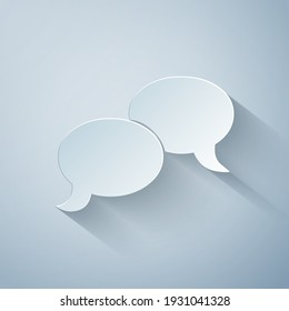 Paper cut Blank speech bubbles icon isolated on grey background. FAQ sign. Copy files, chat speech bubble and chart web icons. Paper art style. Vector Illustration
