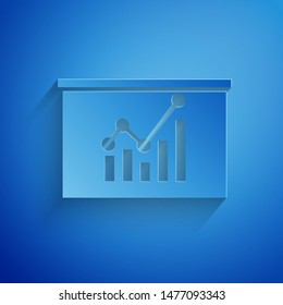 Paper cut Board with graph chart icon isolated on blue background. Report text file icon. Accounting sign. Audit, analysis, planning. Paper art style. Vector Illustration