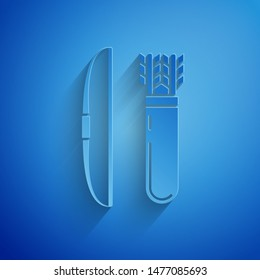 Paper cut Bow and arrow in quiver icon isolated on blue background. Paper art style. Vector Illustration