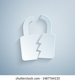 Paper cut Broken or cracked lock icon isolated on grey background. Unlock sign. Paper art style. Vector Illustration