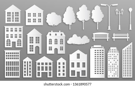 Paper cut buildings. House mansions silhouettes, white origami city cottage, town houses with park elements. Home vector origami buildings for design minimalist construction city exterior
